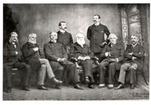 American Historical Association - Executive officers of the American Historical Association at the time of the association's incorporation by Congress, photographed during their annual meeting on December 30, 1889 in Washington, D.C. Seated (L to R) are William Poole, Justin Winsor, Charles Kendall Adams (President), George Bancroft, John Jay, and Andrew Dickson White, Standing (L to R) are Herbert B. Adams and Clarence Winthrop Bowen