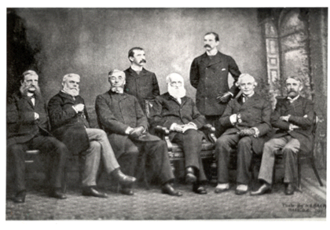 Cornell University Department of History - Executive officers of the American Historical Association at the time of the association's incorporation by Congress, photographed during their annual meeting on December 30, 1889 in Washington, D.C.. Charles Kendall Adams sits left of center and Andrew Dickson White sits on the far right.