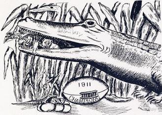 1911 Florida Gators football team - A cartoon showing the Gators eating all of their opponents