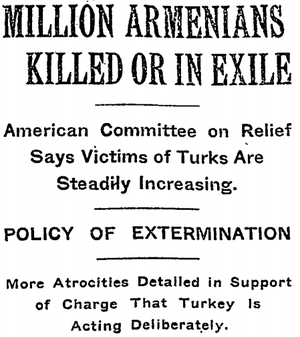 Press coverage during the Armenian Genocide - December 15, 1915 New York Times article headline