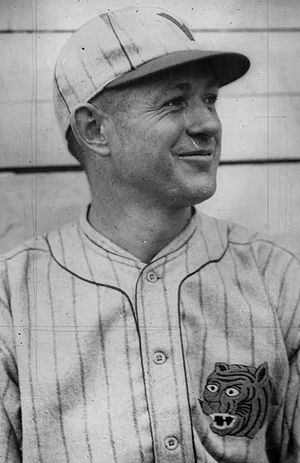 Vernon Tigers - Jakie May is photographed during the 1922 season wearing Vernon's pinstriped uniforms featuring a tiger on the left breast.