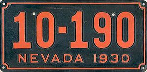 Vehicle registration plates of Nevada - Image: 1930 Nevada license plate