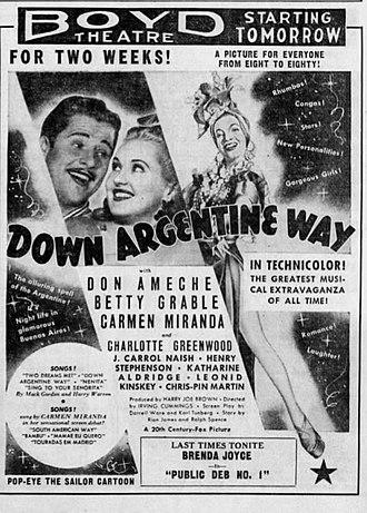 Down Argentine Way - Boyd Theatre advertisement for the film Down Argentine Way (1940).