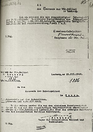 "Lwów Ghetto - Ukrainian Auxiliary Police  ""Judenaktion""correspondence. Lemberg, March 1942"