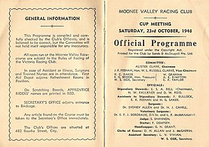 W.S. Cox Plate - Image: 1948 MVRC W. S. Cox Plate Racebook P2