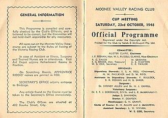 W.S. Cox Plate - Image: 1948 MVRC W. S. Cox Plate Racebook P2