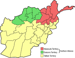 Northern Alliance - Map of the situation in Afghanistan in late 1996; Massoud (red), Dostum (green) and Taliban (yellow) territories.