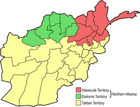 Territoires contrôlés par les différentes parties au conflit en 1996