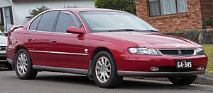 Holden Commodore (VX) - The unique frontal styling of the Berlina and Calais (pictured) feature a headlamp and grille conglomerate, as opposed to the separate assemblages on lower luxury levels.