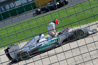 2012 Australian Grand Prix - Michael Schumacher spun off at Turn 9 in the final practice session.