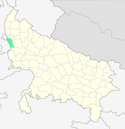 Location of Gautam Buddh Nagar district in Uttar Pradesh