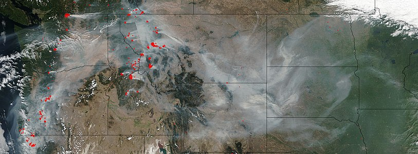 True-color satellite image showing the Western states and provinces with smoke