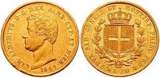 Sardinian lira - 20 lire coin by Charles Albert