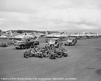 27th Special Operations Wing - : 27th Fighter-Escort Wing F-84Gs at Hickam AFB, October 1952.