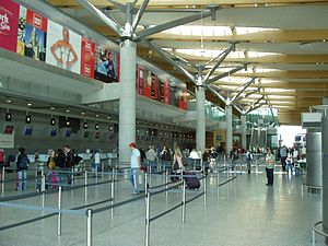 Cork Airport - View of the check-in area at ground level (level 1)