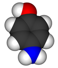 Space-filling model of the 4-aminophenol molecule