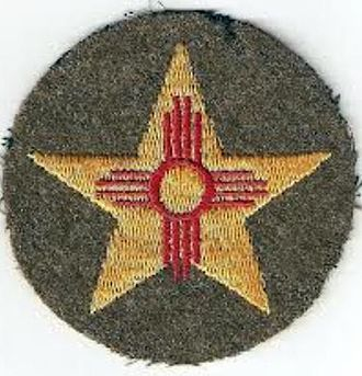 56th Infantry Brigade Combat Team (United States) - 56th Cavalry Brigade shoulder sleeve insignia.  Brigade included Texas units (lone star) and New Mexico units (red Zia sun).