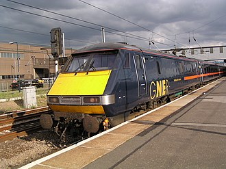 British Rail Engineering Limited - BREL-built Class 91 locomotive 91 118 at Peterborough, heading Mark 4 carriages built by Metro-Cammell