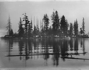 Deadman's Island (Vancouver) -  Deadman Island (c.190?), showing squatters' houses.