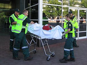 ACTAS Paramedics transport a mock-victim durin...