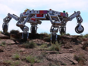Kinematic chain - The JPL mobile robot ATHLETE is a platform with six serial chain legs ending in wheels.