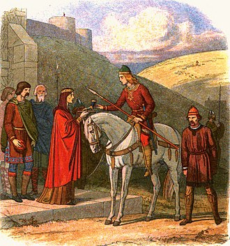 Edward the Martyr - In the 19th-century depiction by James William Edmund Doyle, Edward the Martyr is offered a cup of mead by Ælfthryth, widow of the late Edgar, unaware that her attendant is about to murder him.
