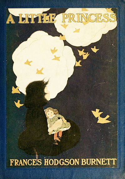 A little girl with a doll seated in a dark green field. Looking up pensively at a stylistic representation of clouds and birds, done in white and gold.