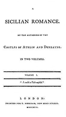 "Title page to the 1792 edition of ""A Sicilian Romance"""