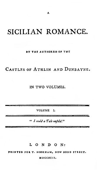A Sicilian Romance - Title page to the 1792 edition