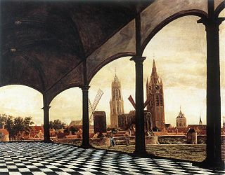 A View of Delft through an Imaginary Loggia (1663) Daniel Vosmaer.jpg