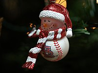 A baseball-shaped snowman decoration