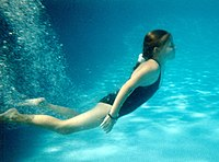 Girl swimming underwater in a pool