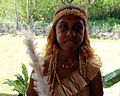 A girl in traditional dress at the Commonwealth Youth Program (CYP) offices in Honiara. (10661921206).jpg