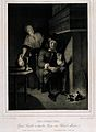 A man sits by a fireplace lighting his pipe with an ember wh Wellcome V0019062.jpg