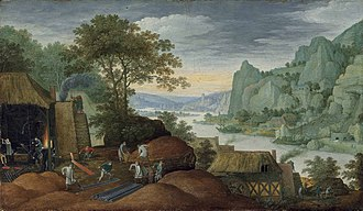 Martin Ryckaert - A rocky landscape with figures by an iron foundry