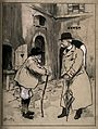 A rural man talking to his physician in the street. Drawing Wellcome V0011619.jpg
