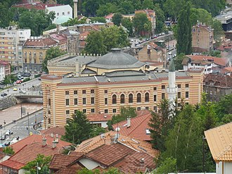 Vijećnica - Library as seen from Yellow Fortress