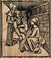 A woman seated on an obstetrical chair giving birth aided by a midwife who works beneath her skirts. Woodcut.jpg