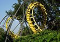 A yellow roller coaster track set amid trees.jpg