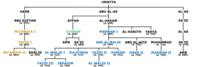 A schematic diagram of the Umayyad ruling family with caliphs highlighted in blue, green and dark yellow