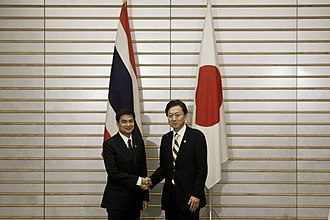 Foreign relations of Thailand - Abhisit with Japanese prime minister Yukio Hatoyama on 8 November 2009, in Tokyo