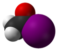 Spacefill model of acetyl iodide