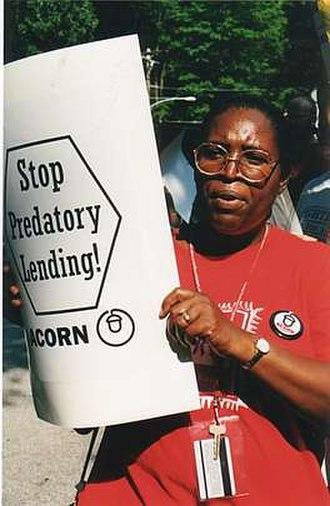 Association of Community Organizations for Reform Now - ACORN member demonstrating against predatory lending