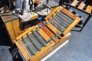 Carrick mat - Carrick mats on schooner Adventuress, used to protect woodwork from the blocks when the lines are slack.