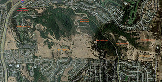 Joseph Knowland State Arboretum and Park - Aerial view of the park with sections of the park labeled