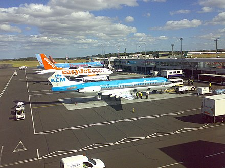 Planes parked at Newcastle Airport Aircraft at Newcastle Airport.jpg