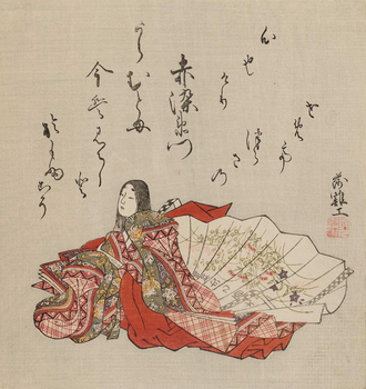 Akazome Emon - Akazome Emon depicted in c. 1765 ink and color Kusazōshi by Komatsuken