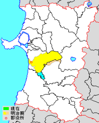 Kawabe District, Akita - Location of former Kawabe District in Akita Prefecture; Yellow=original extent, Blue=portion annexed to Kawabe at a later date