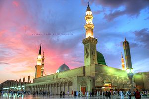 Holiest sites in Islam - A view of the Prophet's Mosque in Medina, Saudi Arabia