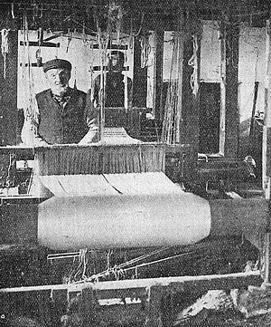 Keith, Moray - Alexander (Sandy) Ogilvie (1791-1871) at his loom in his shop in Land Street